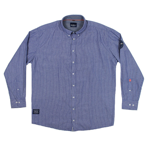 Striped LS Cotton Shirt - North 56 - Mens Big Deals