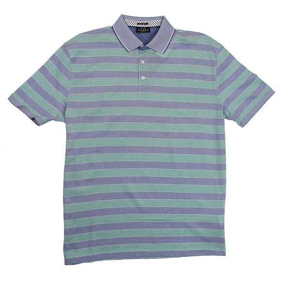 Mercerised Cotton Horizontal Stripe Polo - Kitaro - Mens Big Deals
