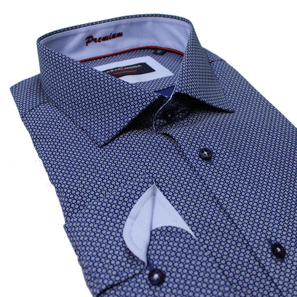 Cotton Circle Print Business Shirt - Casa Moda - Mens Big Deals