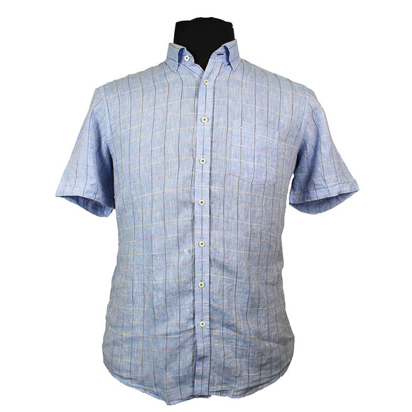 Linen Button Down Collar Fashion Check Shirt - Casa Moda - Mens Big Deals