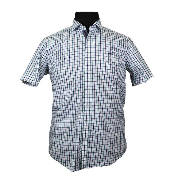 Stretch Cotton Window Pane Check Fashion Shirt - Casa Moda - Mens Big Deals