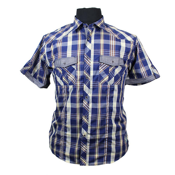 Cotton Rich Retro Check with Twin Pocket Shirt - KAM - Mens Big Deals