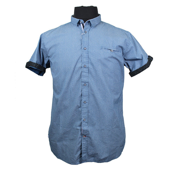 Cotton Abstract Button Under SS Shirt - D555 - Mens Big Deals
