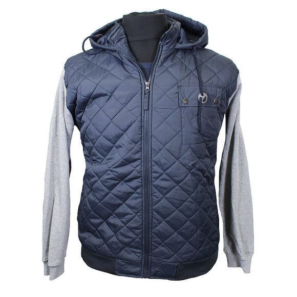Puffer Zip Front with Fleece Sleeve Jacket - D555 - Mens Big Deals