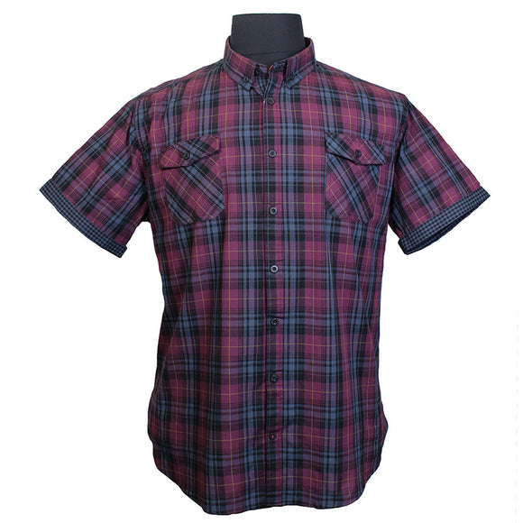Cotton Multi Check Buttondown Collar Fashion Shirt - D555 - Mens Big Deals