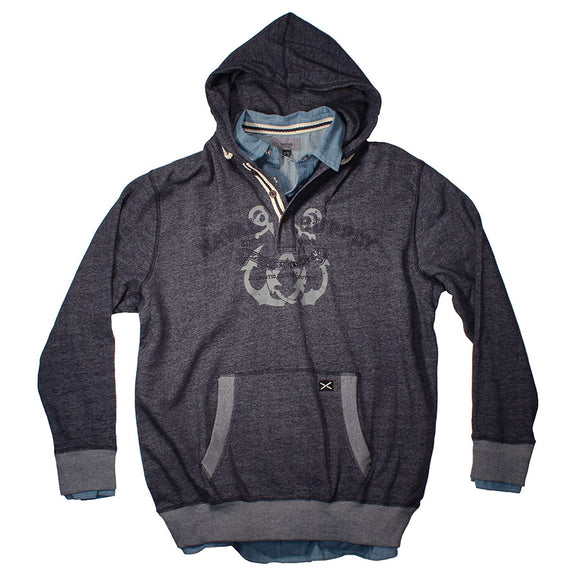 Hoodie with shirt inner - Greyes - Mens Big Deals