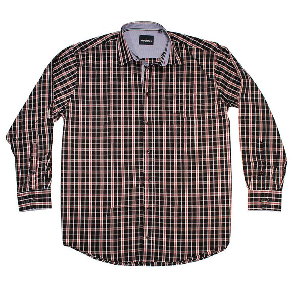 Neat Check Cotton LS Shirt - North 56 - Mens Big Deals