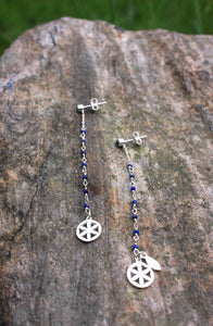 Time to time earrings (carnelian. lapis, malachite, pink quartz, pyrite, howlite) with silver 925 charm