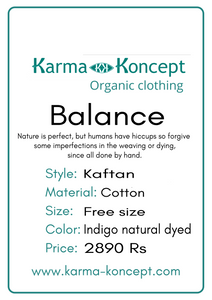 Balance kaftan cotton / indigo natural dyed / free size