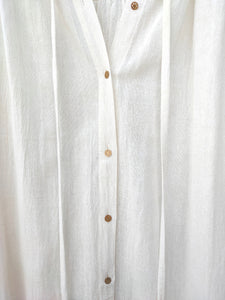 Open mind long open shirt - Bamboo silk / off white / S-M
