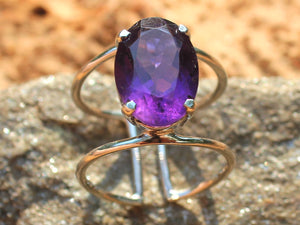 Healing ring silver 925 (carnelian, amethyst, red/aqua/green chalcedony, citrine, lapis)