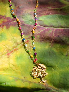 Rainbow Silver 925 gold plated/7 stones necklace