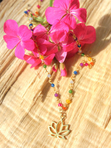 Rainbow Silver 925 gold plated/7 stones choker