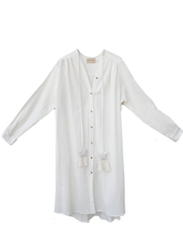 Load image into Gallery viewer, Open mind long open shirt - Bamboo silk / off white / S-M