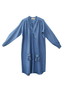 Open mind long open shirt - Indigo / cotton / S-M