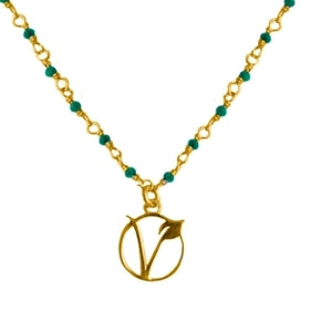 Time to time Vegan sign sliver 925 gold plated malachite/lapis necklace