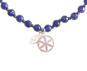 Cycles Little flower of life indigo chalcedony/grey pyrite bracelet