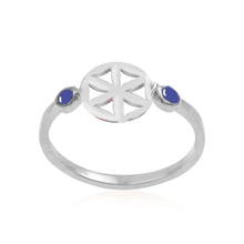Load image into Gallery viewer, Equity silver 925/gold plated (rose quartz/Lotus, carnelian/Sun, lapis/Flower of life) ring