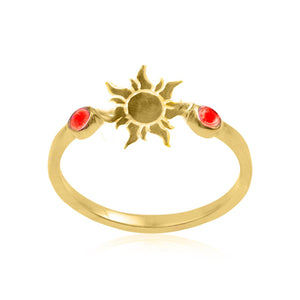 Equity silver 925/gold plated (rose quartz/Lotus, carnelian/Sun, lapis/Flower of life) ring