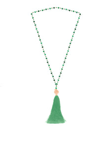 Mala necklace (coral, lapis, malachite, howlite) with silver 925 charm