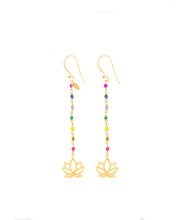Load image into Gallery viewer, Rainbow Silver 925 gold plated/7 stones earrings