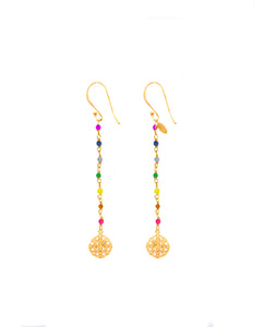 Rainbow Silver 925 gold plated/7 stones earrings