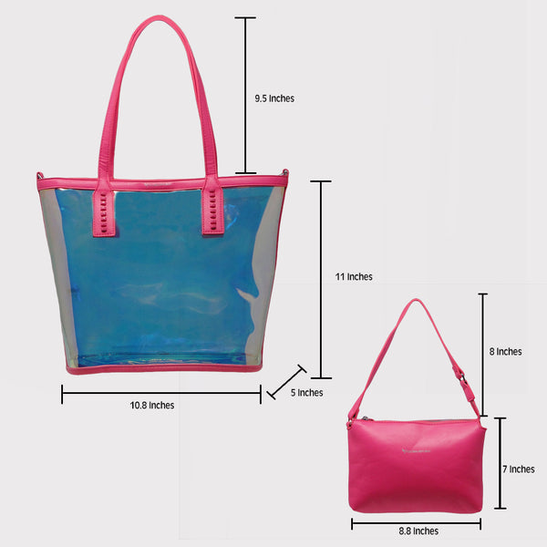 Pink Transparent Shopping Bag with Kit