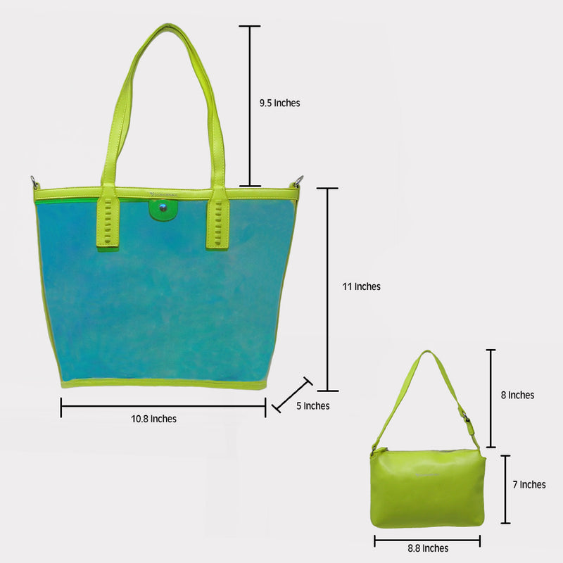 Green Transparent Shopping Bag with Kit
