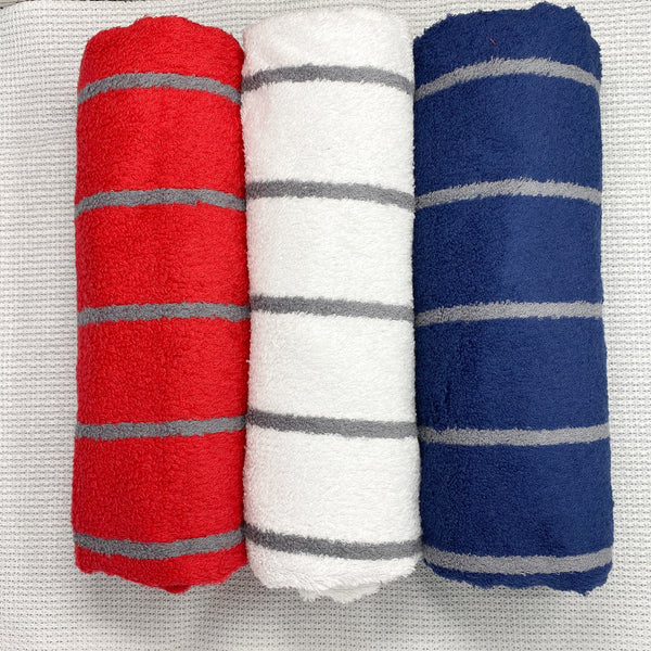 Blue, Grey and Red Super Absorbent Bath Towel (70x140) - Pack of 3