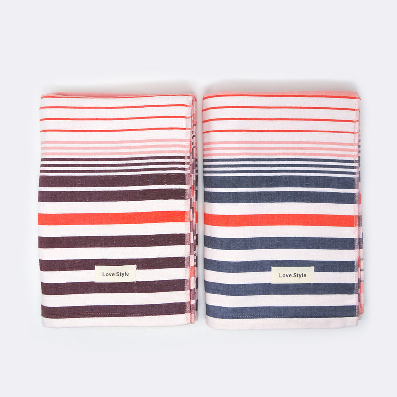 Grey and Pink Striped Super Absorbent Bath Towel (70x140) - Pack of 2