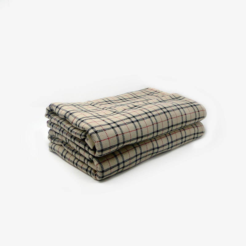 Set of 2 Khaki Checked Super Absorbent Bath Towel (70x140)