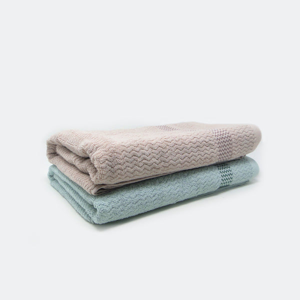 Pack of 2 Super Absorbent Bath Towel (70x140) - Fawn and Sea Blue