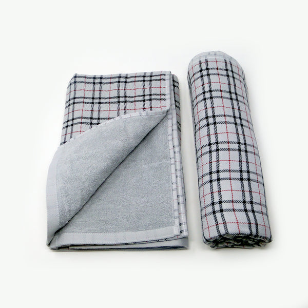 Set of 2 Grey Checked Super Absorbent Bath Towel (70x140)
