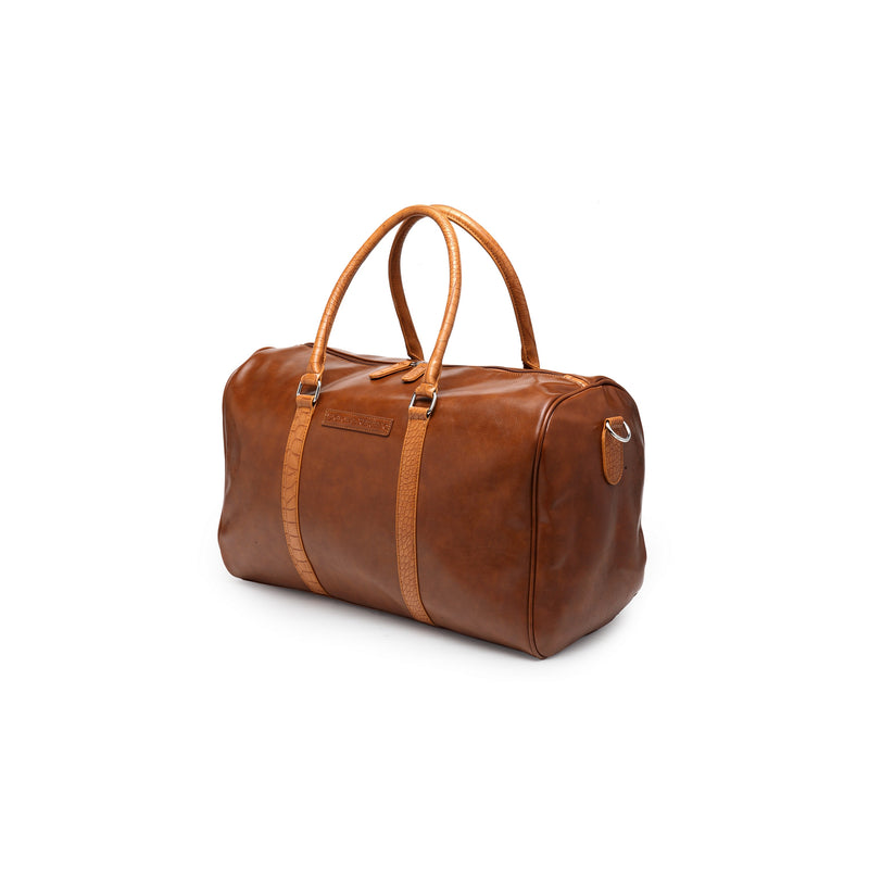 Tan, PU Leather, Travelling Duffle Bag (19X11X9)