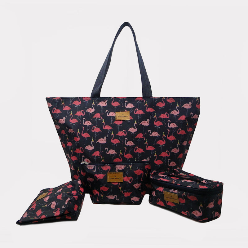 Swan Printed Shopping Bags with Multipurpose Kits (Set of 4)