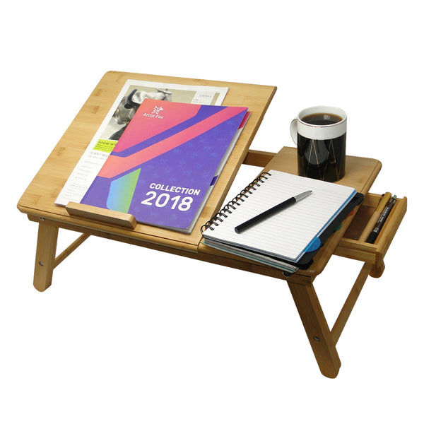 Adjustable and Water Resistant Bamboo Wood Laptop/Study Table with Ventilation