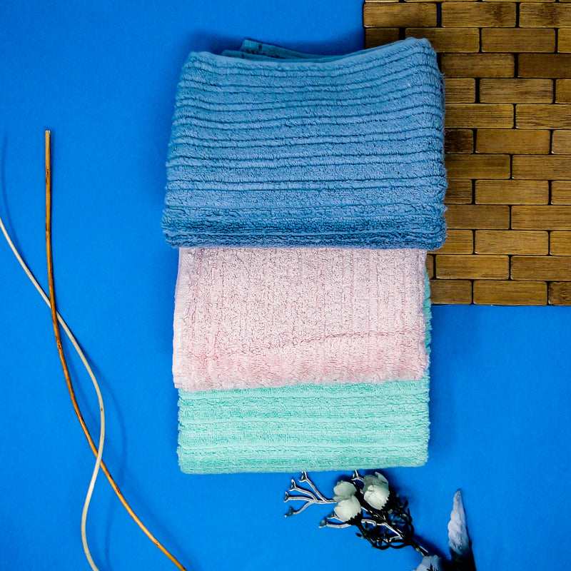 Blue, Green and Pink Supersoft Hand towels (34x75) - Pack of 3