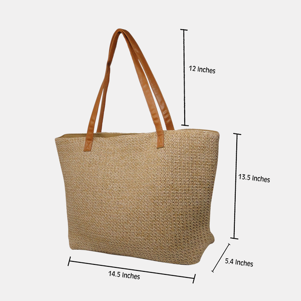 Solid Beige Jute Shopping Bag with Sling