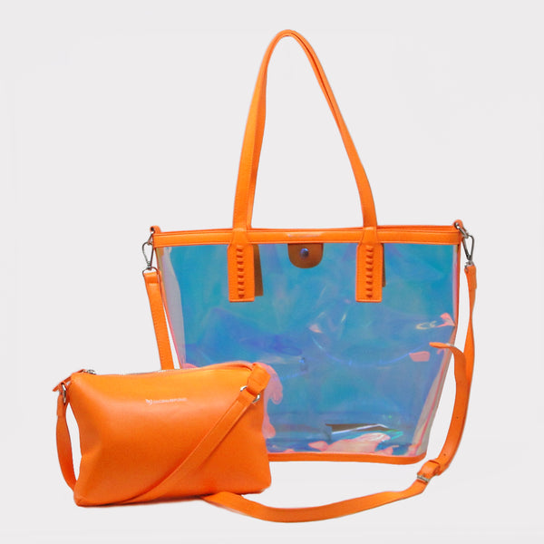 Orange Transparent Shopping Bag with Kit