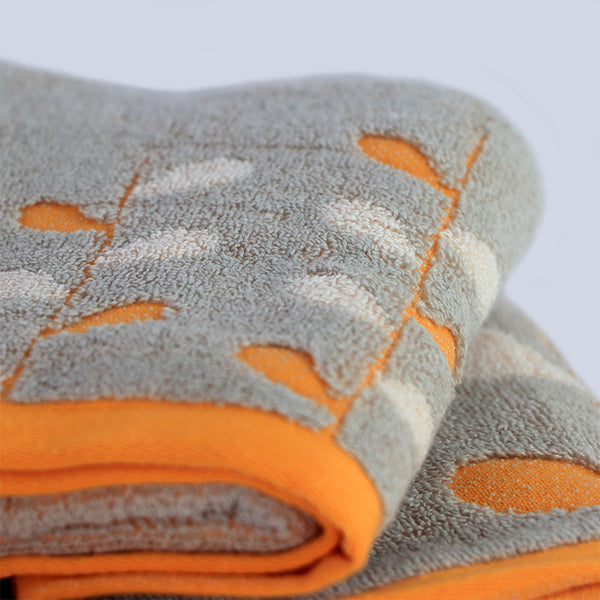 Beige & Orange  Super Absorbent Solid Bath Towel (70X140,34X75)
