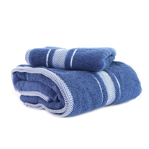 Navy Blue Super Absorbent Solid Bath Towel (70X140,35X76)