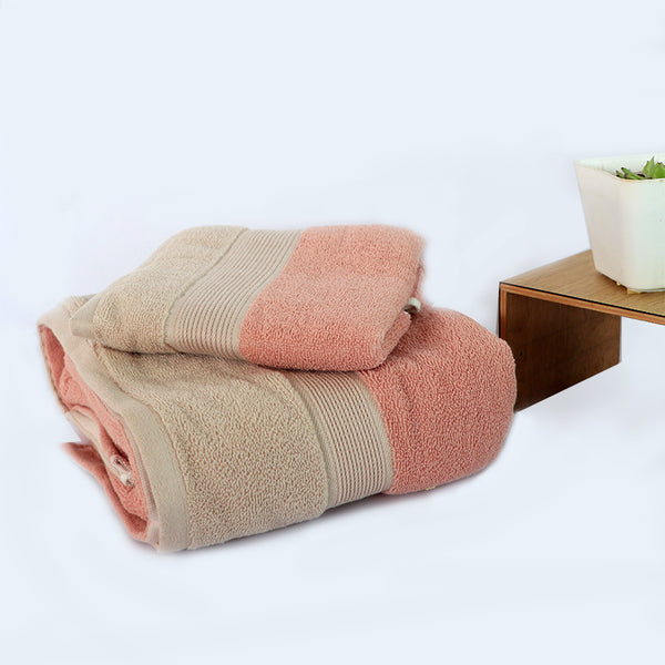 Pink Super Absorbent Solid Bath Towel (73X140,35X72)