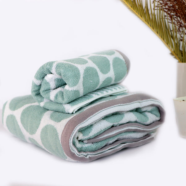 Green Super Absorbent Solid Bath Towel (70X140,34X75)