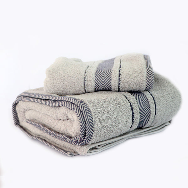 Grey Super Absorbent Solid Bath Towel (70X140,35X76)