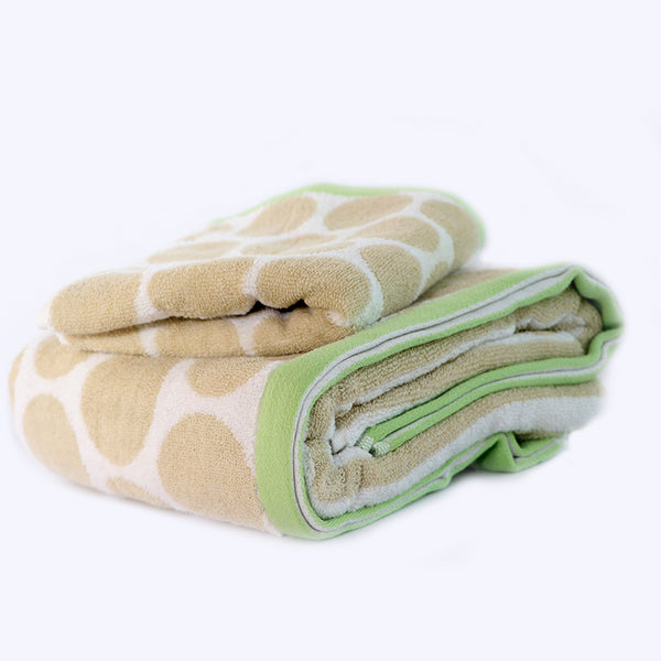 Beige Super Absorbent Solid Bath Towel (70X140,34X75)