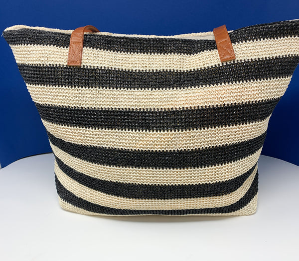 Black & White Striped Jute Shopping Bag with Sling