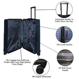 Set of 3 Light Polycarbonate Trolley Luggage Bags (Small, Medium and Large) - Blue Color
