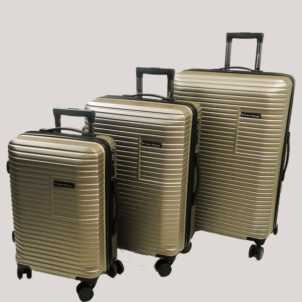 Set of 3 Light Polycarbonate Trolley Luggage Bags (Small, Medium and Large) - Gold Color