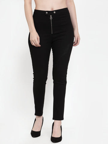black jeggings with front zipper detail