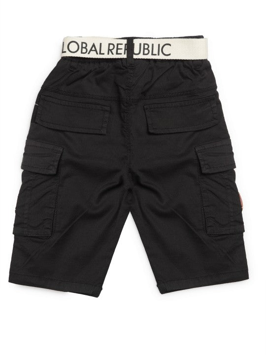 Kids Black Solid Relaxed Fit Cargo Shorts
